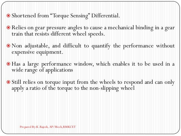 """ Shortened from """"Torque Sensing"""" Differential.  Relies on gear pressure angles to cause a mechanical binding in a gear t..."""