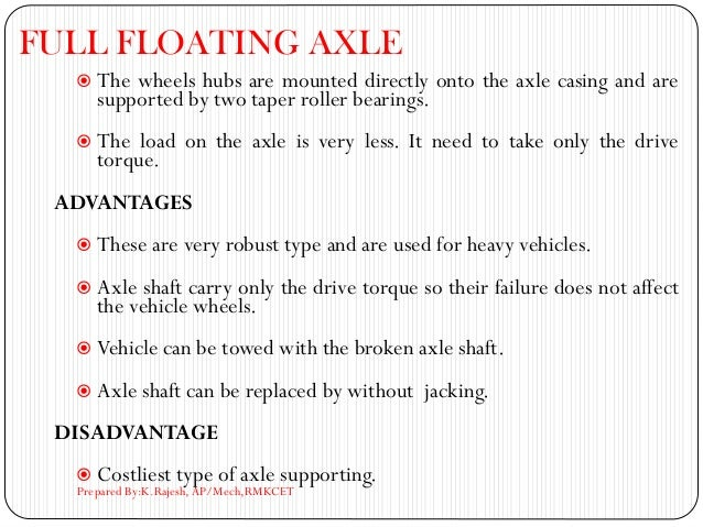 FULL FLOATING AXLE  The wheels hubs are mounted directly onto the axle casing and are supported by two taper roller beari...