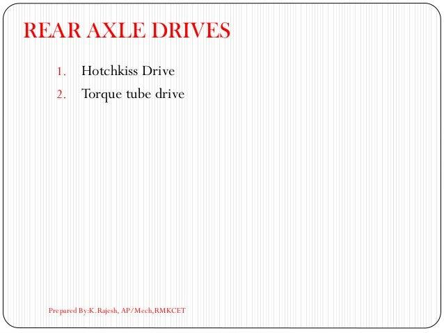 REAR AXLE DRIVES 1. Hotchkiss Drive 2. Torque tube drive Prepared By:K.Rajesh, AP/Mech,RMKCET