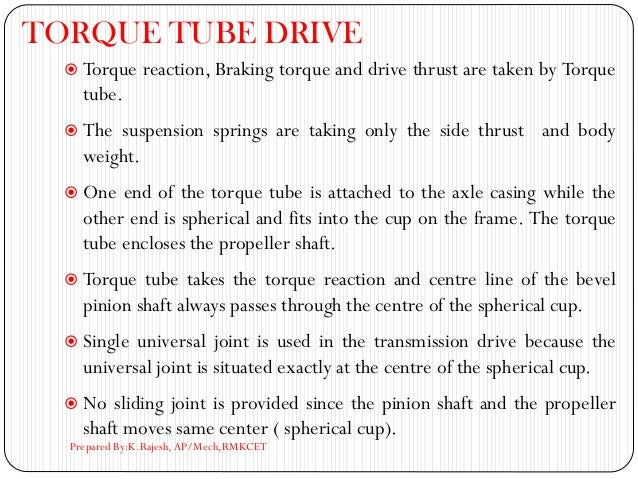 TORQUE TUBE DRIVE  Torque reaction, Braking torque and drive thrust are taken by Torque tube.  The suspension springs ar...