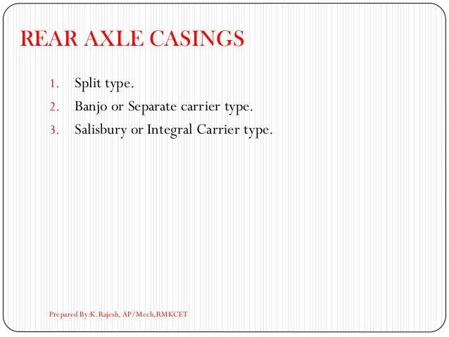 REAR AXLE CASINGS 1. Split type. 2. Banjo or Separate carrier type. 3. Salisbury or Integral Carrier type. Prepared By:K.R...