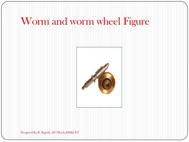 Worm and worm wheel Figure Prepared By:K.Rajesh, AP/Mech,RMKCET
