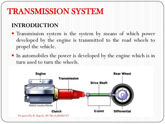 TRANSMISSION SYSTEM INTRODUCTION  Transmission system is the system by means of which power developed by the engine is tr...