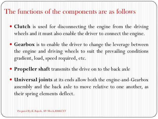The functions of the components are as follows  Clutch is used for disconnecting the engine from the driving wheels and i...