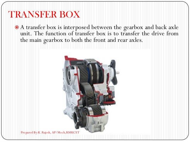 TRANSFER BOX  A transfer box is interposed between the gearbox and back axle unit. The function of transfer box is to tra...