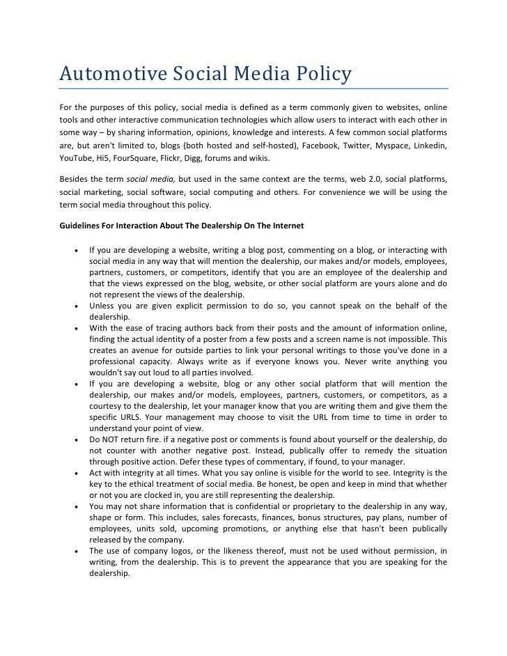 Automotive Social Media Policy  For  the  purposes  of  this  policy,  social  media  is  defined  as  a  term  commonly  ...