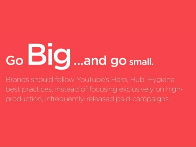 I  5;.  .. .arId go small.   Brands should follow YouTube's Hero,  l—lub.  Hygiene best practices,  instead of focusing ex...