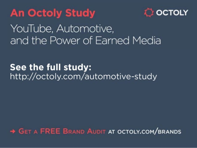 An Octoiy Study 0 ocToLY  YouTube,  Automotive,  and the Power of Earned Media  See the full study:  http: //octoly. com/ ...