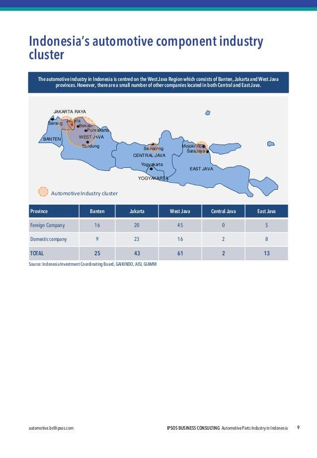 automotive.bc@ipsos.com IPSOS BUSINESS CONSULTING Automotive Parts Industry in Indonesia  Sarabaya  EAST JAVA  BANTEN  YOG...