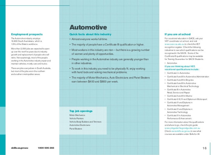 AutomotiveEmployment prospects                            Quick facts about this industry                                 ...