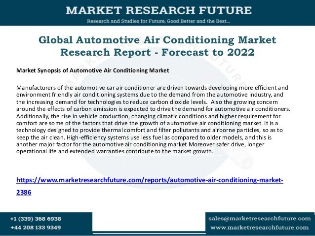 Global Automotive Air Conditioning Market Research Report - Forecast to 2022 Market Synopsis of Automotive Air Conditionin...
