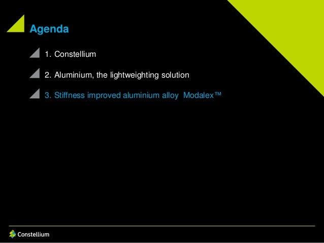 Agenda 1. Constellium 2. Aluminium, the lightweighting solution 3. Stiffness improved aluminium alloy Modalex™