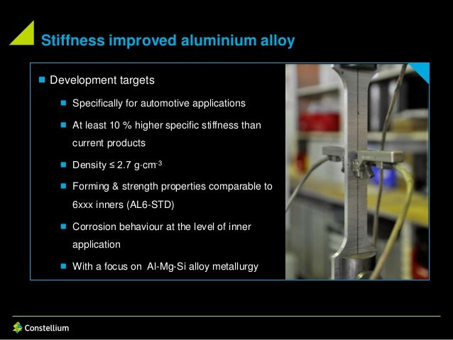 Stiffness improved aluminium alloy  Development targets  Specifically for automotive applications  At least 10 % higher...