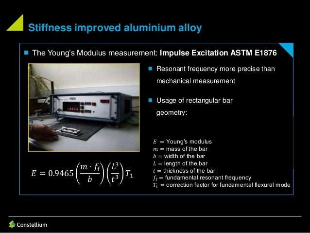 Stiffness improved aluminium alloy  The Young's Modulus measurement: Impulse Excitation ASTM E1876  Resonant frequency m...