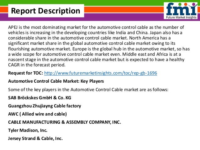 Automotive control cable market size in terms of volume and value 201…