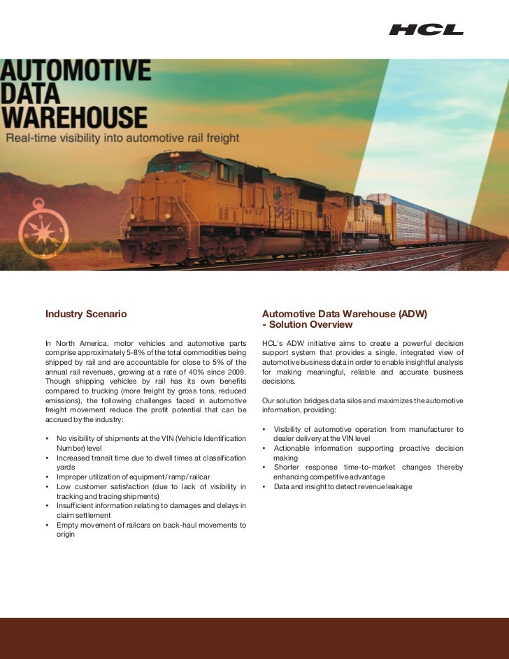 Industry Scenario                                               Automotive Data Warehouse (ADW)                           ...