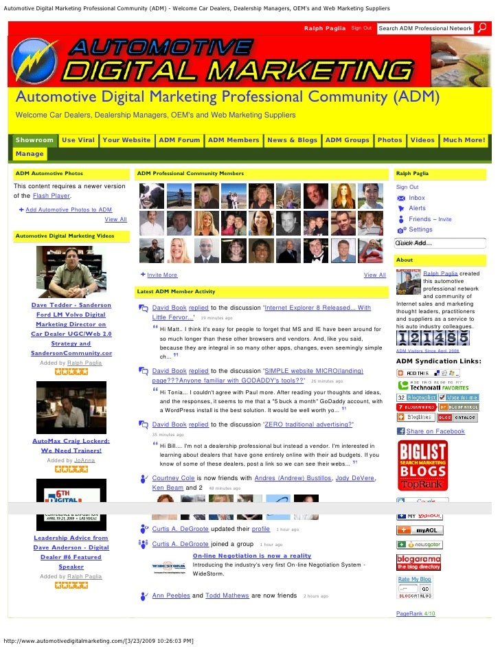 Automotive Digital Marketing Professional Community (Adm)   Welcome Car Dealers, Dealership Managers, Oe Ms And Web Market...