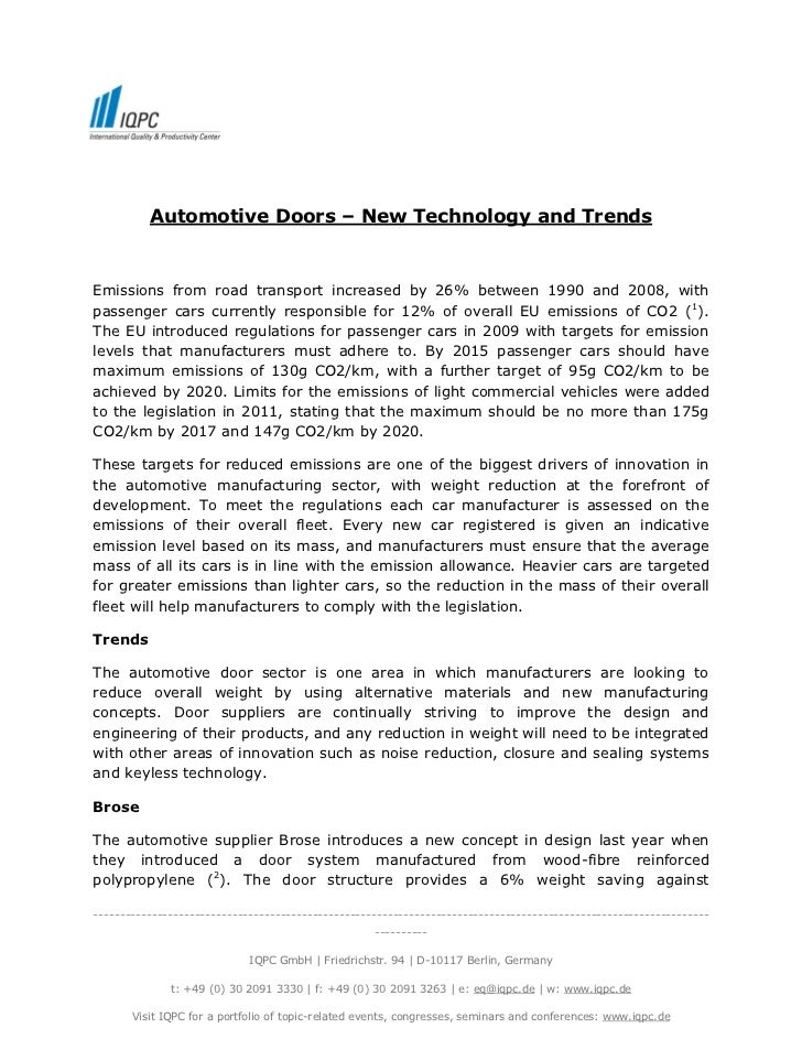 Automotive Doors – New Technology and TrendsEmissions from road transport increased by 26% between 1990 and 2008, withpass...