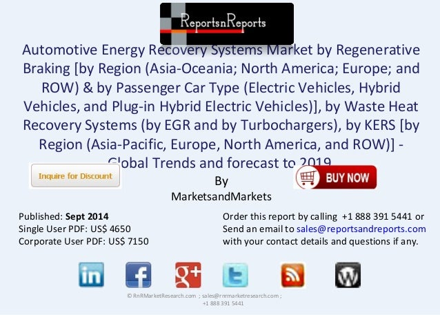 Automotive Energy Recovery Systems Market by Regenerative  Braking [by Region (Asia-Oceania; North America; Europe; and  R...