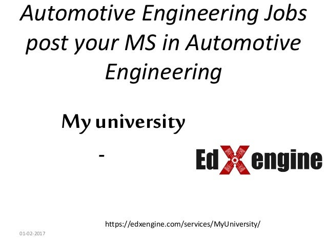 MS in Automotive engineering and it's Jobs in the US