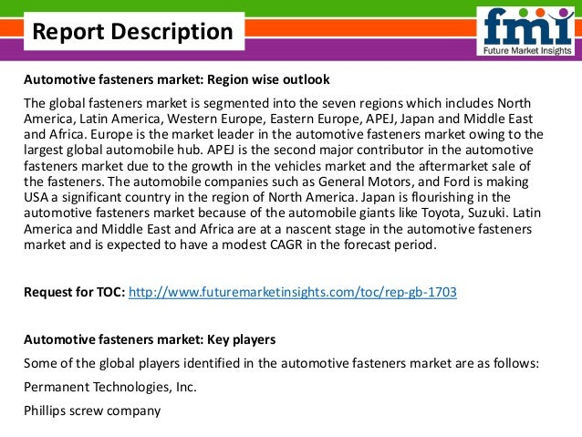 Automotive Fasteners Market Trends And Competitive Landscape