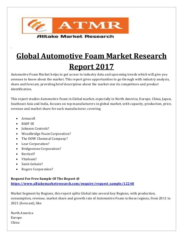 Global Automotive Foam Market Research Report to Continue