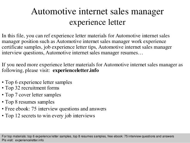 Automotive Internet Sales Manager Experience Letter In This File, You Can  Ref Experience Letter Materials ...  Resume Job Experience