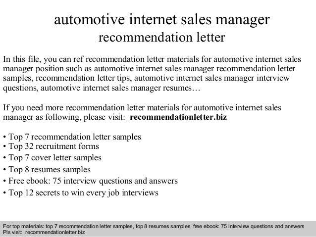 internet sales manager resume