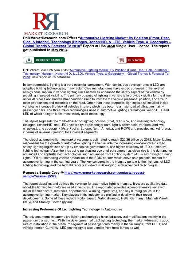 """RnRMarketResearch.com Offers """"Automotive Lighting Market: By Position (Front, Rear,Side, & Interior), Technology (Halogen,..."""