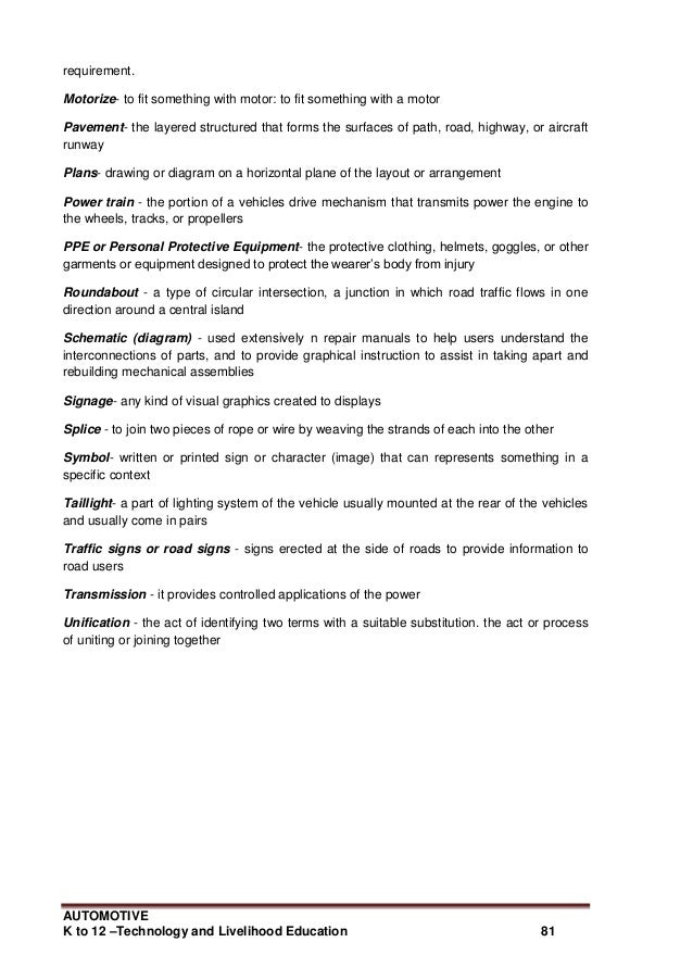 k to 12 automotive learning module officialdefinition of terms 81 automotivek to 12