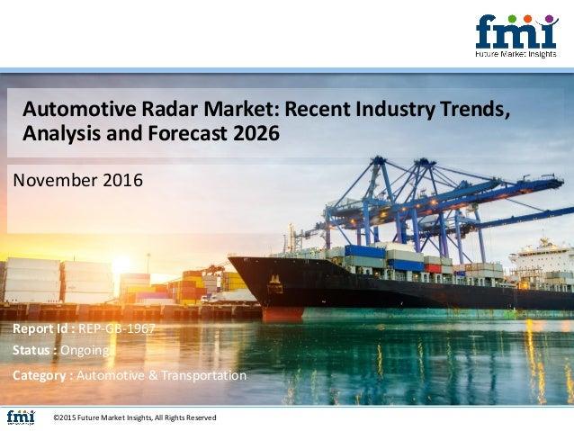 Automotive Radar Market: Recent Industry Trends, Analysis and Forecast 2026 November 2016 ©2015 Future Market Insights, Al...