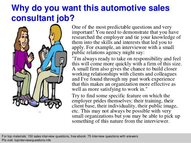 Automotive sales consultant interview questions and answers