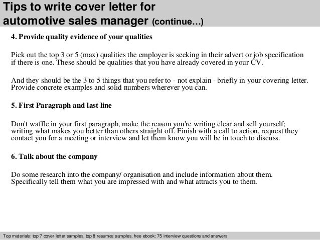 automotive sales manager cover letter