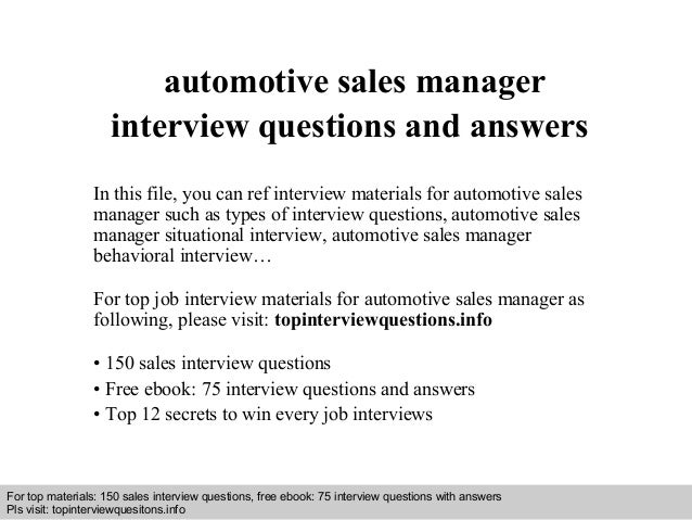 Interview questions and answers – free download/ pdf and ppt file automotive sales manager interview questions and answers...
