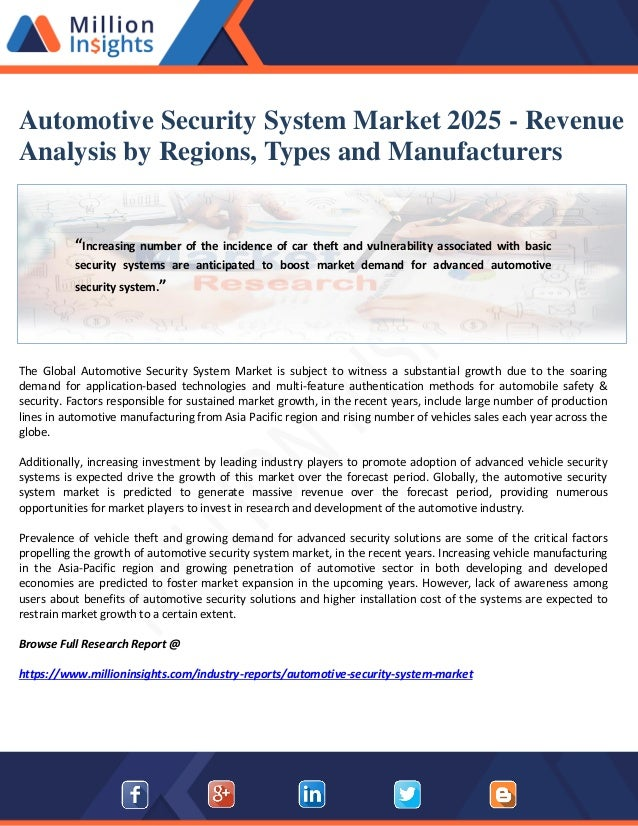 Automotive security system market 2025 revenue analysis by