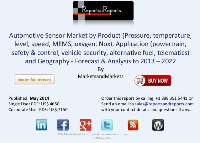 Automotive Sensor Market by Product (Pressure, temperature, level, speed, MEMS, oxygen, Nox), Application (powertrain, saf...