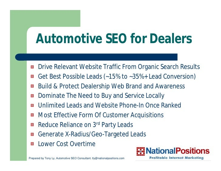Automotive SEO for Dealers        Drive Relevant Website Traffic From Organic Search Results        Get Best Possible Lead...