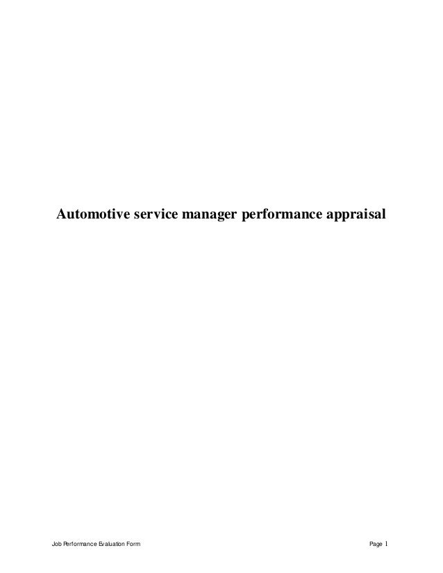 Automotive Service Manager Job