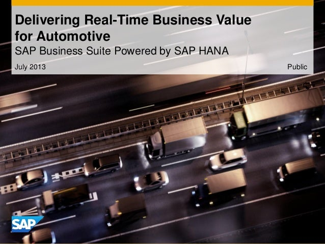 July 2013 Delivering Real-Time Business Value for Automotive SAP Business Suite Powered by SAP HANA Public