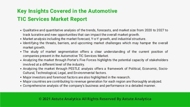 Key Insights Covered in the Automotive TIC Services Market Report Qualitative and quantitative analysis of the trends, for...