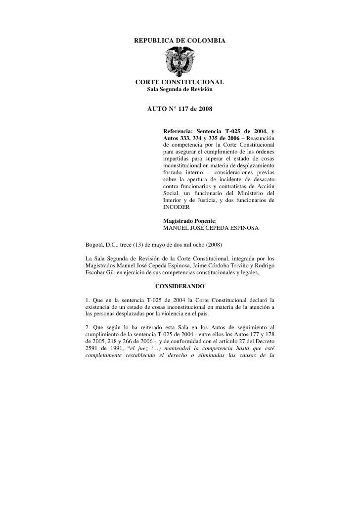 REPUBLICA DE COLOMBIA                    CORTE CONSTITUCIONAL                         Sala Segunda de Revisión            ...