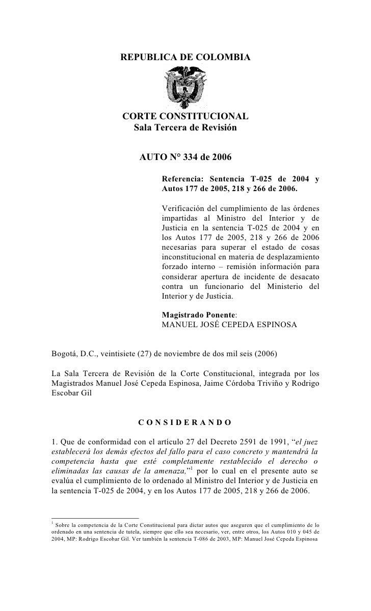 REPUBLICA DE COLOMBIA                            CORTE CONSTITUCIONAL                              Sala Tercera de Revisió...