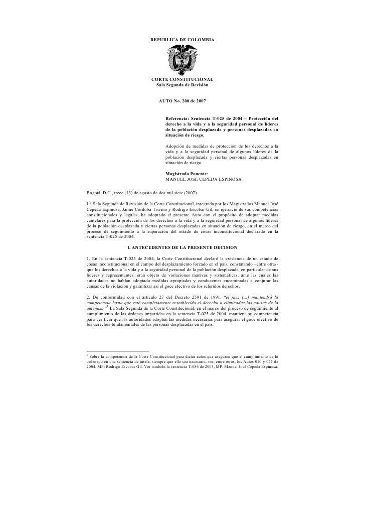 REPUBLICA DE COLOMBIA                                    CORTE CONSTITUCIONAL                                     Sala Seg...