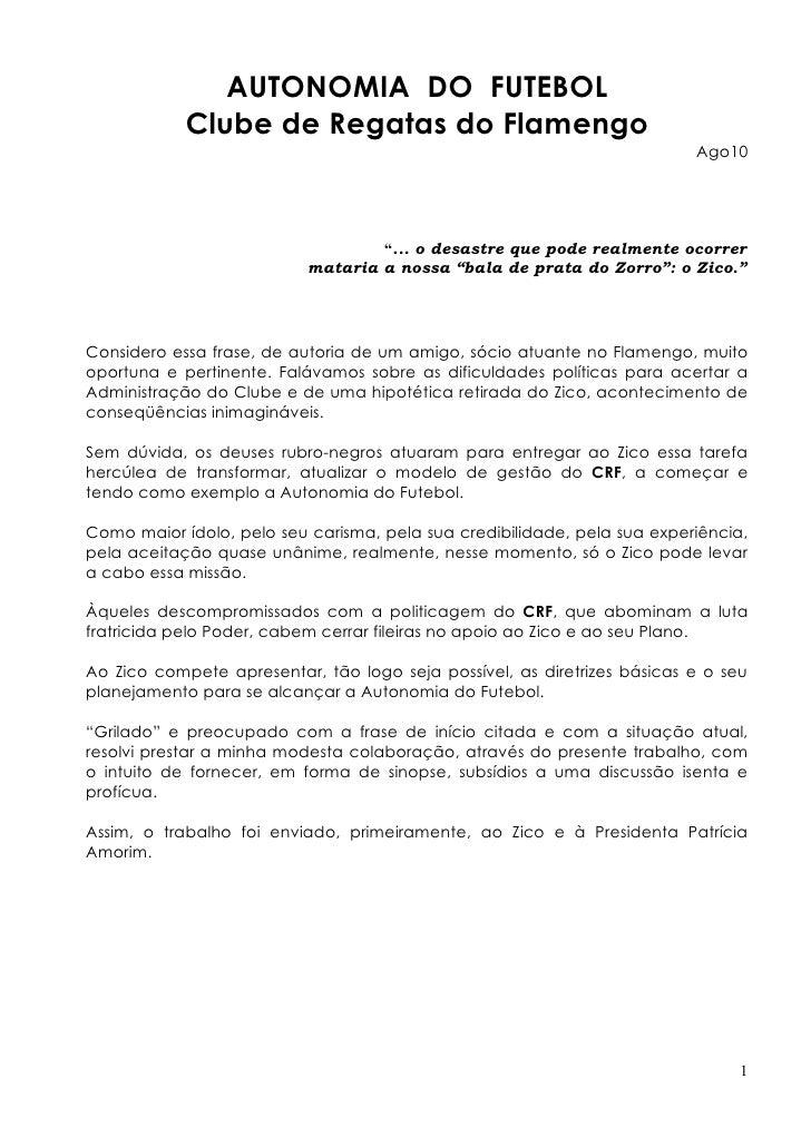 Autonomia para o futebol do Flamengo (V.doc)
