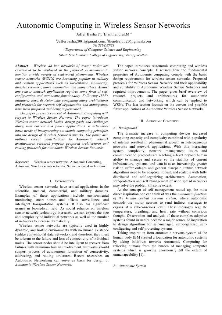 Autonomic Computing in Wireless Sensor Networks                                           1                               ...