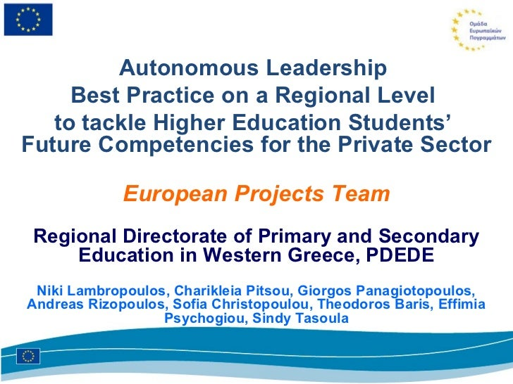 Autonomous Leadership     Best Practice on a Regional Level   to tackle Higher Education Students'Future Competencies for ...
