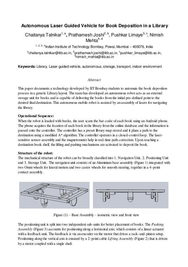 Autonomous Laser Guided Vehicle For Book Deposition In A
