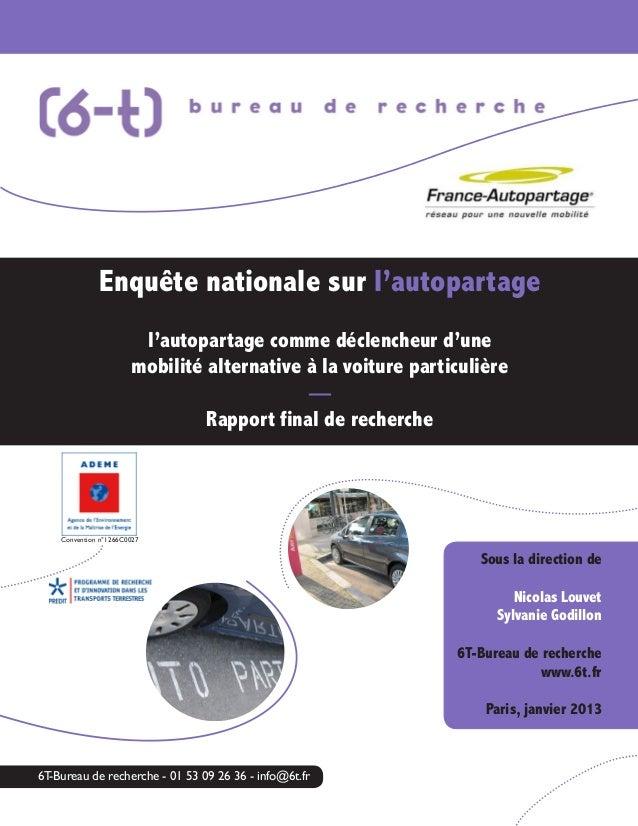 Enquête nationale sur l'autopartage l'autopartage comme déclencheur d'une mobilité alternative à la voiture particulière —...