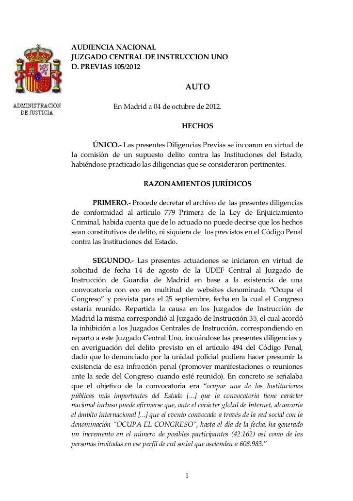 AUDIENCIA NACIONALJUZGADO CENTRAL DE INSTRUCCION UNOD. PREVIAS 105/2012                                          AUTO     ...