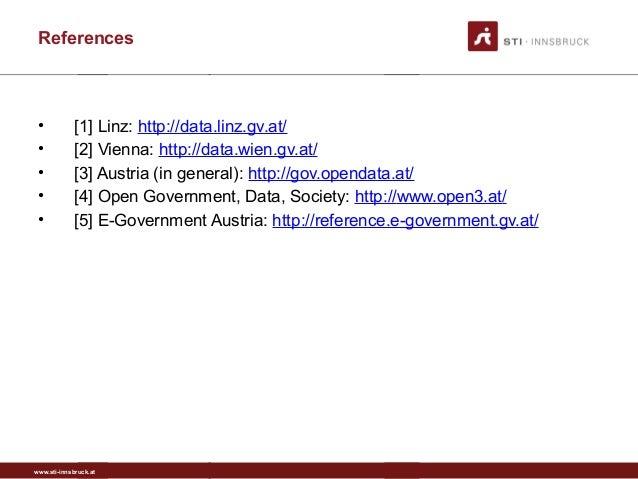 www.sti-innsbruck.at References • [1] Linz: http://data.linz.gv.at/ • [2] Vienna: http://data.wien.gv.at/ • [3] Austria (i...